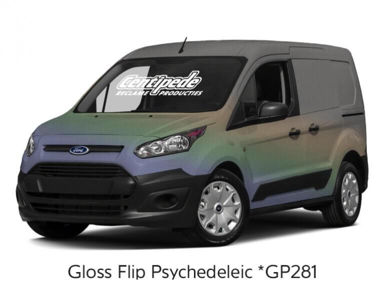 Carwrapping bestelauto voorbeeldfoto Gloss Flip Psychedelic