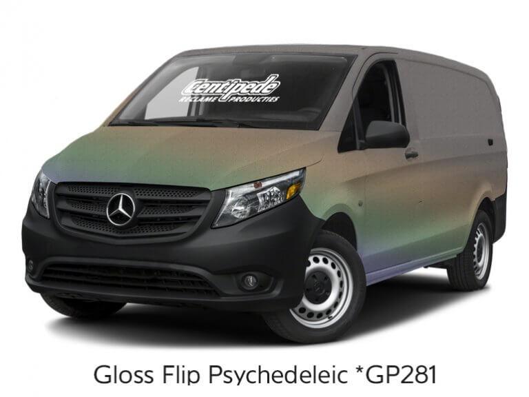 Carwrapping bestelbus voorbeeldfoto Gloss Flip Psychedelic