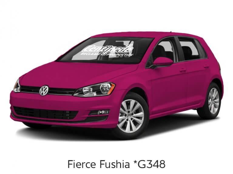 Carwrapping personenauto voorbeeldfoto Fierce Fushia