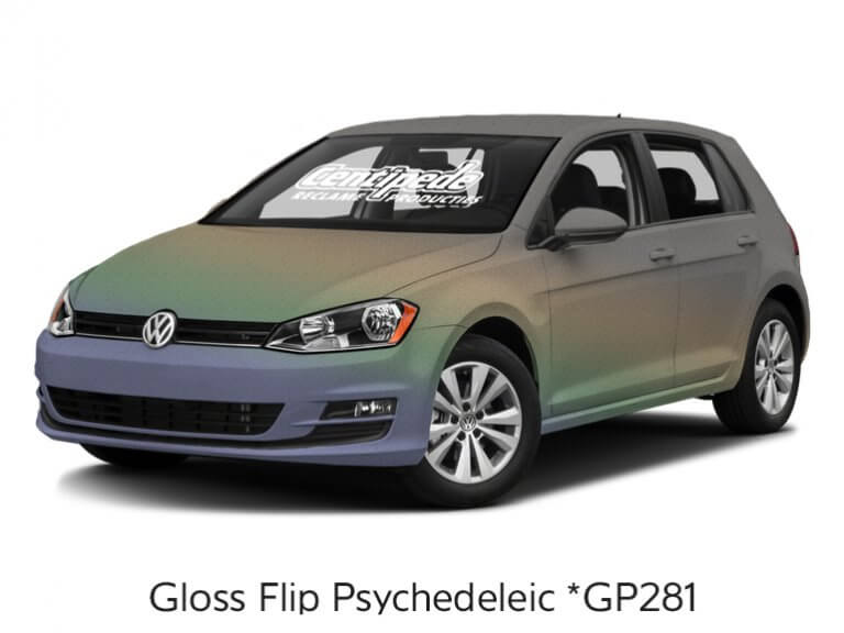 Carwrapping personenauto voorbeeldfoto Gloss Flip Psychedelic